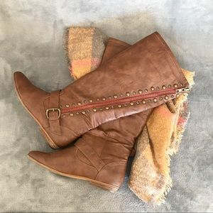 """Not Rated """"Twisted Seam"""" Rhinestone Knee Boots 8.5"""